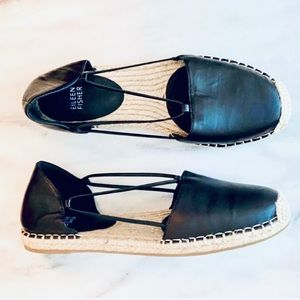 Eileen Fisher leather d'Orsay strappy espadrilles